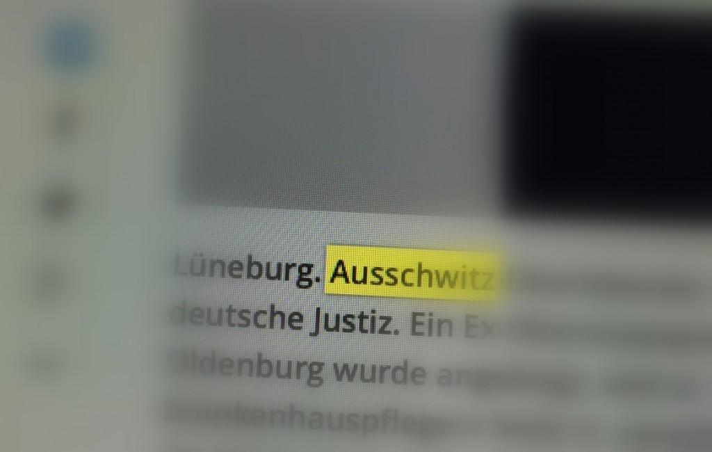 Falsche Schreibweise von Auschwitz in einer deutschen Onlinezeitung, Bildschirmfoto: rotkel.