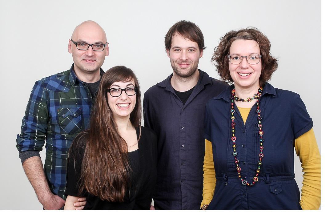 Das ursprüngliche Team von Rotkel. Von links: Jaroslaw Piwowarski, Anabelle Assaf, Mischa Mangel und Anke Zeitschel, Bild: Laura Gliesche.